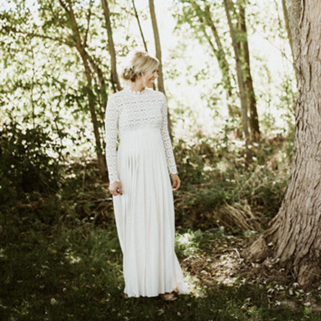 Fashion-Women-Pregnants-Maternity-Photography-High-Collar-Long-Sleeve-Lace-Dress thumbnail 15