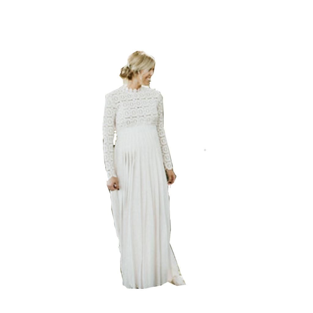 Fashion-Women-Pregnants-Maternity-Photography-High-Collar-Long-Sleeve-Lace-Dress thumbnail 14