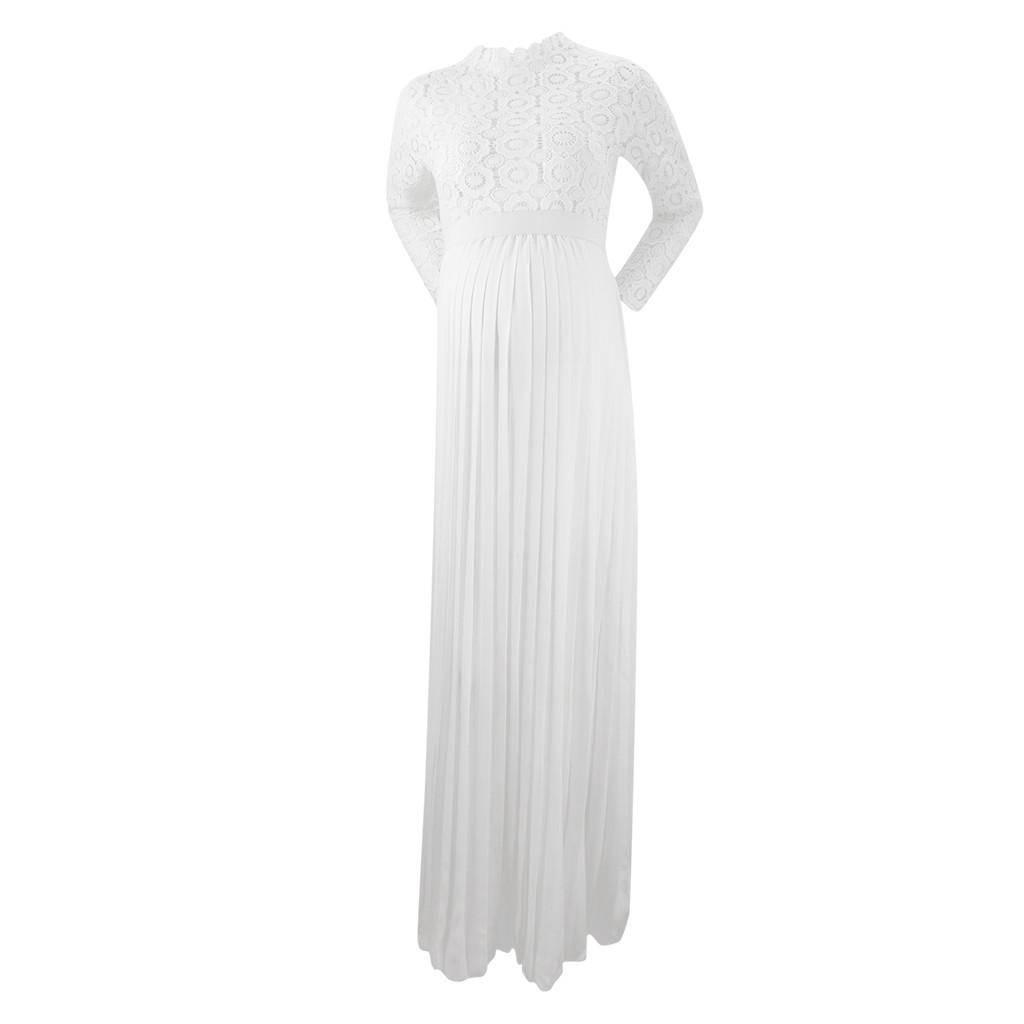 Fashion-Women-Pregnants-Maternity-Photography-High-Collar-Long-Sleeve-Lace-Dress thumbnail 11